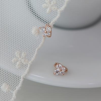 14K 나비 큐빅 귀찌 귀걸이