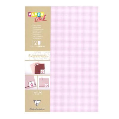 [클레르퐁텐]핑크 체크 페이퍼 A4 (12매)