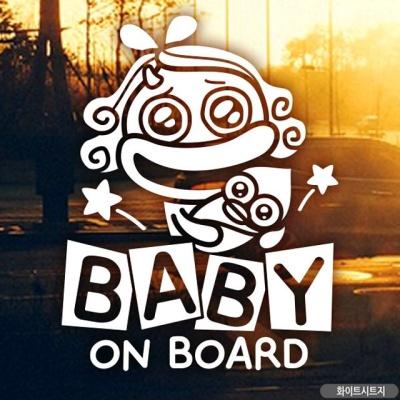 BABY ON BOARD 코코 자동차스티커-화이트