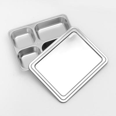 [쿠킹스]뚜껑 스텐 식판(4칸)/ 가정 군대 병원 배식판