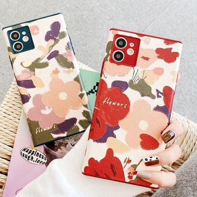 아이폰se2 7 8 플러스 플라워 사각 카메라보호 케이스
