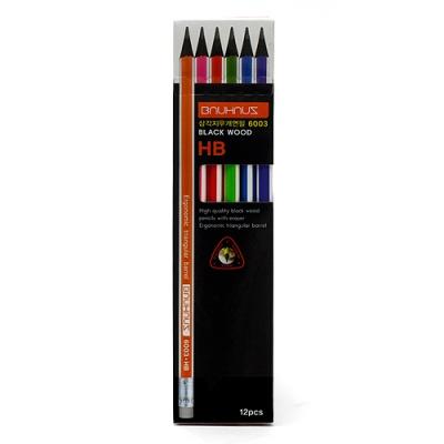 (모나미) 12p 삼각 지우개 HB 연필