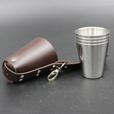 코코나 소주잔세트 4p 가죽케이스 포함 캠핑소주컵
