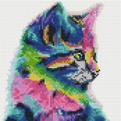아이엠미니 DIY 보석십자수 25x25_레인보우 고양이