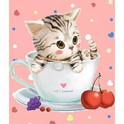 티컵 고양이 3 (패브릭) 5D 보석십자수 30x35