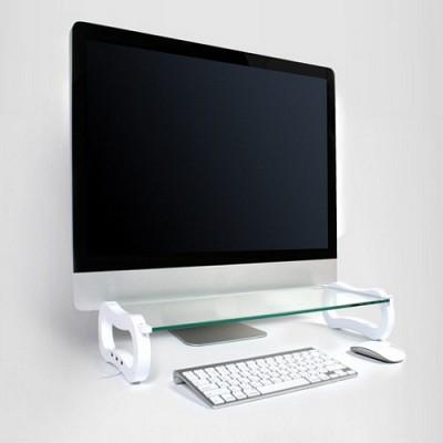 아이루iroo 아이보드베이직(I-BOARD BASIC White and BLACK) 노트북 LCD 태블릿 3USB 모니터 선반 강화유리
