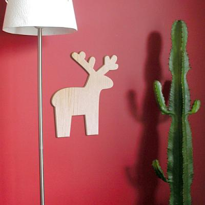 [우드스티커] 크리스마스루돌프아이콘 (반제품) - 입체우드 월데코  포인트 우드스카시 벽장식