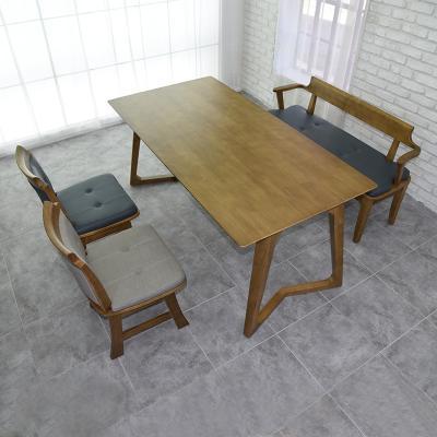 도밍 고무나무 원목 4인용 식탁세트 벤치형
