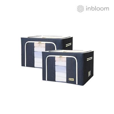 인블룸 1+1세트 도트 리빙박스 66L 네이비