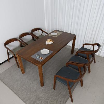 키츠 고무나무 원목 6인 의자형 식탁세트