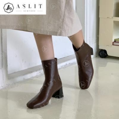 [애슬릿]스퀘어 여성 지퍼 청키 힐 앵클 부츠 5cm