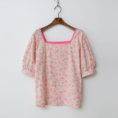 Linen Neon Flower Blouse