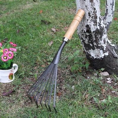 원예용 스텐 낙엽갈퀴(나무손잡이)
