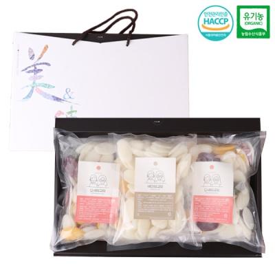 유기농 백미x1팩+오색x2팩 떡국떡 선물세트