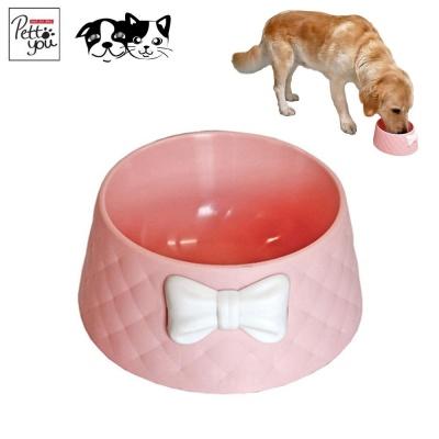 펫투유 우쭈쭈 리본 퀄팅식기 (핑크) (강아지 식기)