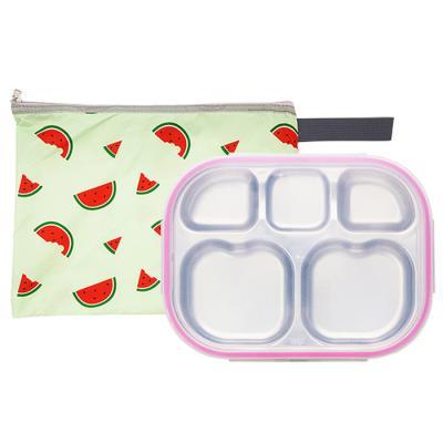 수박젤리 하트형 핑크 유아식판 뚜껑+파우치 포함