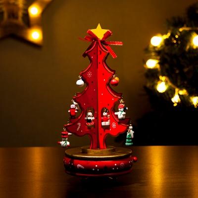 원목 레드 크리스마스 트리 오르골(27cm)