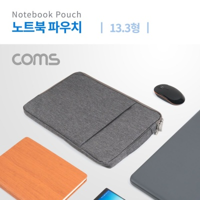 Coms 노트북 파우치 가방 슬림형 그레이 13.3형