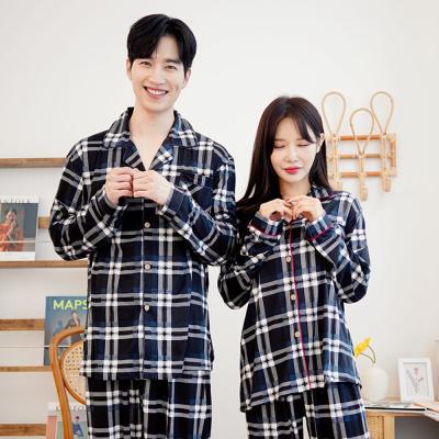 메리핀 피치기모 체크 잠옷 커플 상하세트 블랙+블랙