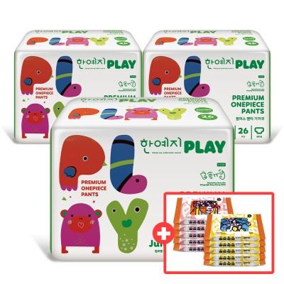 PLAY 기저귀 점보 3팩(총 78입)+비데물티슈10팩(증정)