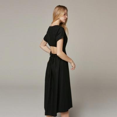Back Point Basic Black Dress