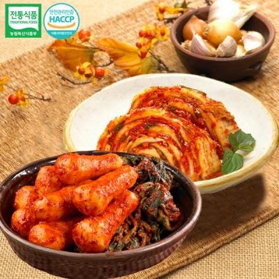 [명가김치] 국내산 맛김치 3kg+총각김치 3kg