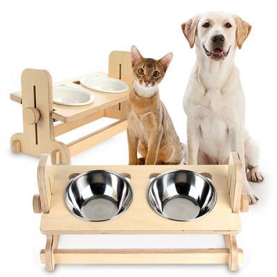 캣토피아 반려동물 높이조절 원목식탁 2구 도자기식기