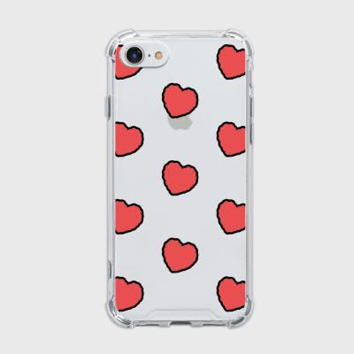red heart fluffy [탱크투명 폰케이스]