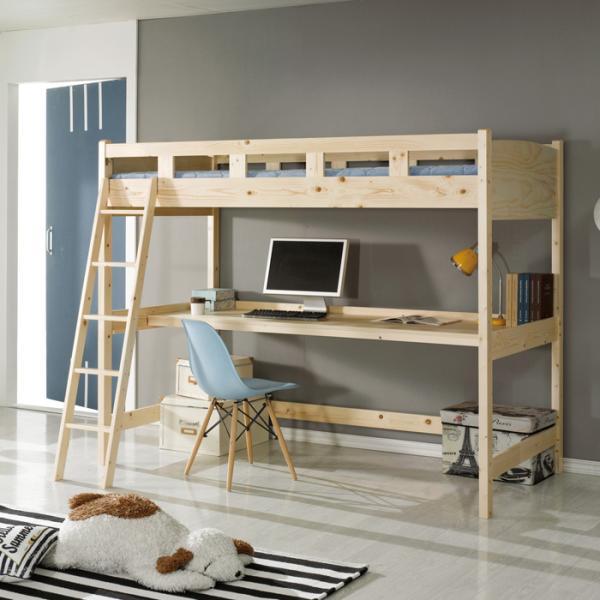 원목 2층침대 벙커형 책상 (슬림매트) FN207