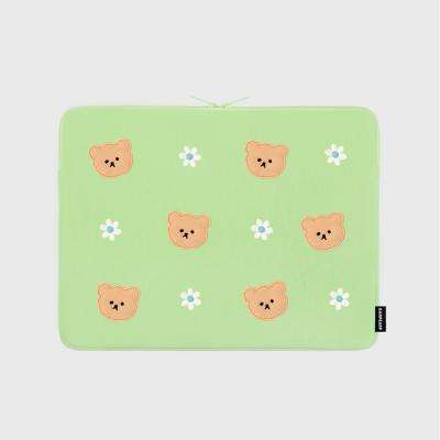 Dot flower bear-mint-13inch notebook pouch