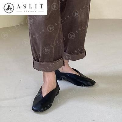 [애슬릿]여성 스퀘어 사선 절개 뮬 플랫 슈즈 1.5cm