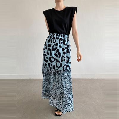 Leopard Chiffon Long Skirt