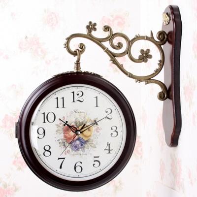 심플 엔틱 양면 시계(브라운,화이트)