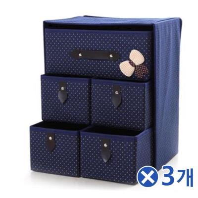 도트무늬 3단 수납함 블루x3개 속옷수납정리함 양말통