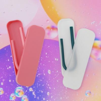 실리콘 빨대 전용 케이스 반투명 / 핑크색
