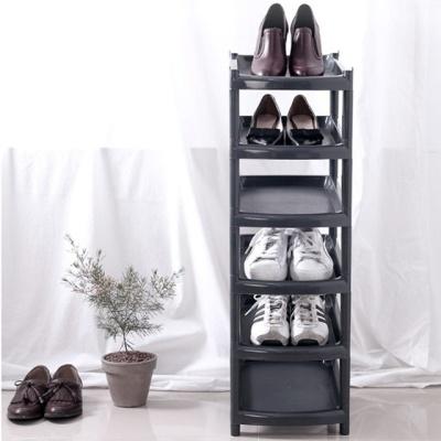 슬림 신발정리대 6단(블랙) 조립 신발장 슈즈랙