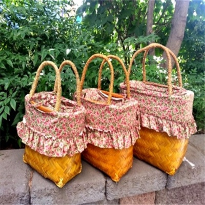 대나무 피크닉 바구니 수납바스켓 가방 수납함