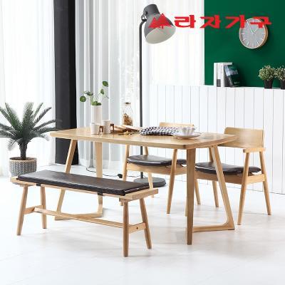 쿠니 고무나무 원목 4인 식탁 세트 벤치형