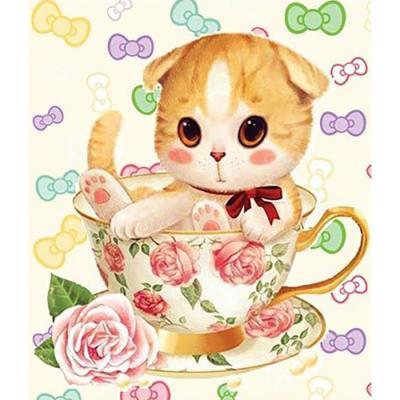 티컵 고양이 2 (패브릭) 5D 보석십자수 30x35