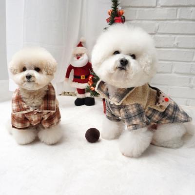 강아지겨울점퍼 애견패딩 뽀글체크 코트