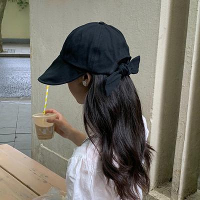 피쿠 뒷리본 넓은 챙 모자