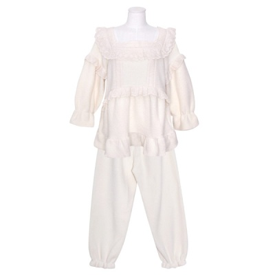 [쿠비카]래글런 스퀘어넥 양털 투피스 여성잠옷 W830