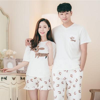 [쿠비카]쁘띠 리본 프릴 3부 투피스 커플잠옷 WM136