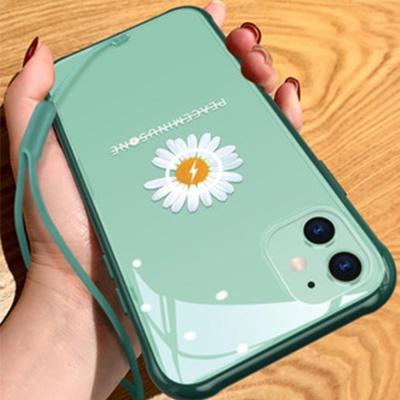 아이폰xr xs max 8 7+ 국화꽃 투명 범퍼 하드 케이스