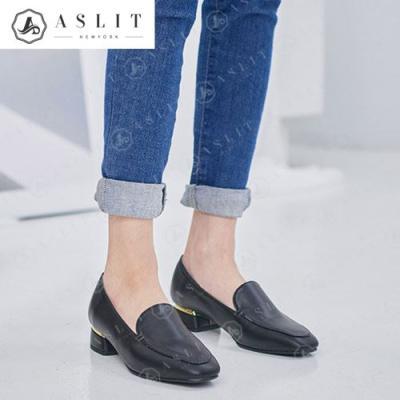 [애슬릿]여성 둥근 스퀘어 골드 플랫 로퍼 구두 3cm
