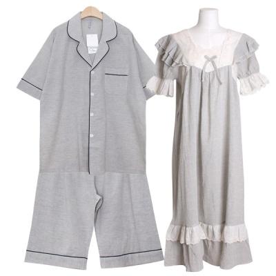 [쿠비카]넥 자수 레이스 거즈 원피스 커플잠옷 WM349