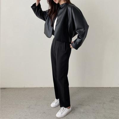 Faux Leather Coccon Crop Jacket