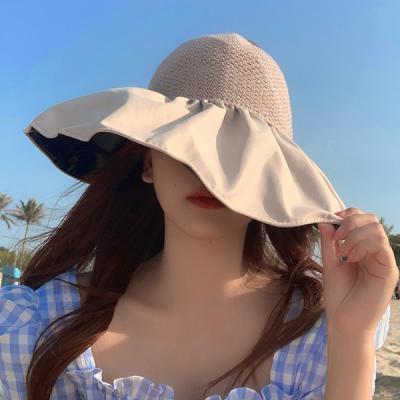 우런 넓은 챙 여성 버킷햇 자외선 차단 모자