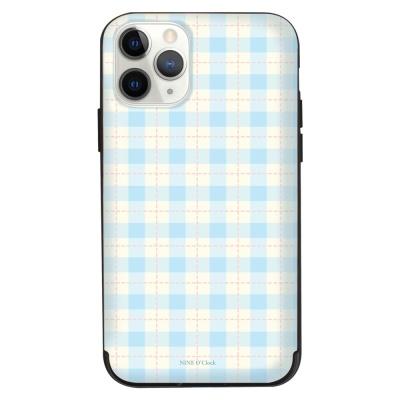 나인어클락 문양 체크 패턴 카드슬롯 케이스 - 블루