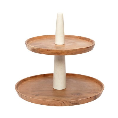 [Hubsch]Etagere w/2 plates, marble/acacia wood, white/nature 518002 접시